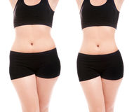 Diet and overweight concept. Woman's body before and after a diet Royalty Free Stock Image