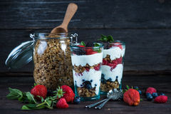 Diet parfait with granola and fresh fruit. In vintage masson jar Royalty Free Stock Images