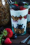 Diet parfait with granola and fresh fruit. In vintage masson jar Stock Images