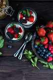 Diet parfait with granola and fresh fruit. In vintage masson jar Royalty Free Stock Photography