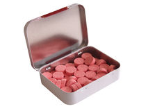 Diet pill box with tablets. Diet pill box with red tablets royalty free stock image