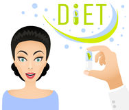 Diet pills ad banner concept. Healthy lifestyle Dietary supplement. Royalty Free Stock Photos