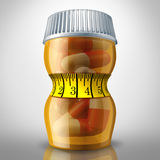 Diet Pills. And appetite suppressing medication as a prescription drug bottle squeezed by a tight fitness tape measure as a slimming metaphor for losing weight Royalty Free Stock Photo