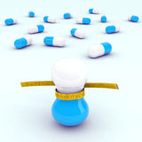 Diet pills with tape Royalty Free Stock Images