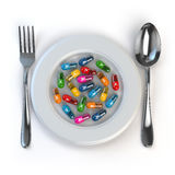 Diet. Pills or vitamins on plate with spoon and fork. royalty free illustration