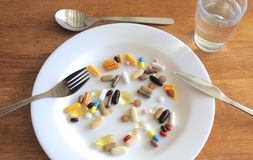 A diet of pills Royalty Free Stock Images