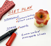 Diet plan with apple, marker and measuring tape. On white background Stock Photos