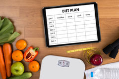 DIET PLAN healthy eating, dieting, slimming and weigh loss conce. Pt Royalty Free Stock Photos