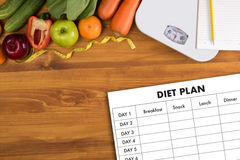 DIET PLAN healthy eating, dieting, slimming and weigh loss conce Stock Photo