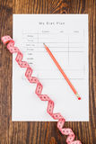 Diet plan, measuring tape and pencil Royalty Free Stock Images