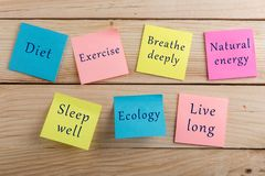 Diet plan and motivation be healthy concept - Many colorful sticky note with words diet, exercise, breathe deeply, natural energy