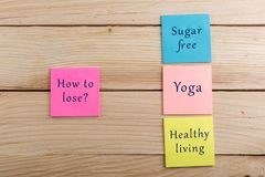 Diet plan and motivation concept - Many colorful sticky note with words how to lose, sugar free, yoga, healthy living