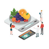 Diet plan and nutrition. Nutritionists planning a diet using a food measuring scale and a food app on the smartphone, diet and nutrition concept royalty free illustration