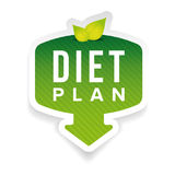 Diet plan sign button with leaves Royalty Free Stock Photo