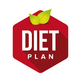 Diet plan sign button with leaves Stock Photography