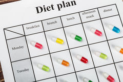 Diet plan and take diet pills or treatment Stock Images