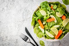 Diet plan weight lose concept. Fresh vegetable salad with fork, knife, grey stone table copy space top view Royalty Free Stock Photo