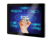 DIET PLAN. Writing  words DIET PLAN   show  on tablet  made in 2d software isolated on white Stock Photos
