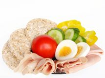 Diet plate. Diet healthy rise bread and ham Royalty Free Stock Images
