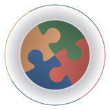 Diet plate puzzle. Jigsaw puzzle pieces on a plate as elements of a diet and reminiscent of mouths Royalty Free Stock Image