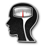 Diet Psychology. Concept as a weight scale shaped as a human head as a symbol for eating issues and obsession of counting calories with a kilogram or pound stock illustration