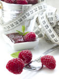 Diet with raspberries Stock Image