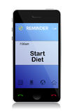 Diet reminder phone Stock Photos