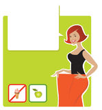 Diet result. Vector illustration of a lady enjoying diet results Royalty Free Stock Photos
