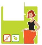 Diet result. Vector illustration of a lady enjoying diet results Stock Illustration