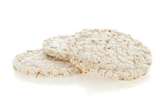 Diet rice cakes pile isolated on white Royalty Free Stock Images