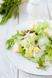 Diet salad with boiled egg and lettuce Royalty Free Stock Images