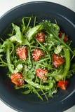 Diet-sallad i en platta av arugula, paprika och tomater ?ta som ?r sunt royaltyfria foton