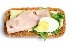 Diet sandwich. Light diet sandwich of rye bread, cheese, ham, lettuce, and egg Stock Photo