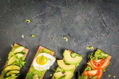 Diet sandwiches with guacamole and fresh vegetables Stock Image