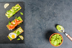 Diet sandwiches with guacamole and fresh vegetables Stock Photography