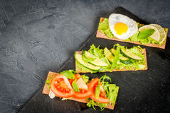 Diet sandwiches with guacamole and fresh vegetables Royalty Free Stock Photo