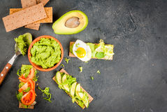 Diet sandwiches with guacamole and fresh vegetables Royalty Free Stock Image