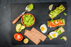 Diet sandwiches with guacamole and fresh vegetables Royalty Free Stock Photos