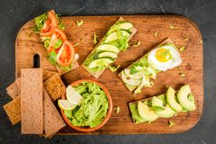 Diet sandwiches with guacamole and fresh vegetables Royalty Free Stock Photography