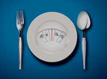 Diet Scale. Diet menu. White plate with weight scale . Eps10 vector Royalty Free Stock Photography