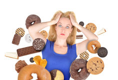 Diet Scare Woman on White with Snack Food stock photo