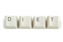 Diet from scattered keyboard keys on white. Diet text from scattered keyboard keys isolated on white background stock photography