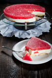 Diet seasonal cake with watermelon jelly and mascarpone cheese Stock Photography