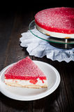 Diet seasonal cake with watermelon jelly and mascarpone cheese Stock Images