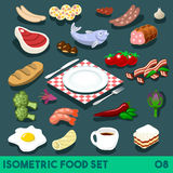 Diet Set 08 Food Isometric. A Lot on my Plate. Modular Food Elements Street Food Diet NEW bright palette 3D Flat Vector Icon Set Isometric Restaurant Fastfood Royalty Free Stock Image