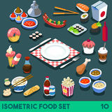 Diet Set 10 Food Isometric Stock Photos