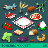 Diet Set 05 Food Isometric Stock Photography
