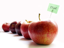 Diet. Several red apples on white background stock image