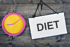 Diet sign on wooden table Royalty Free Stock Photography
