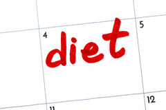`diet` sign written with a marker on the calendar.  stock image